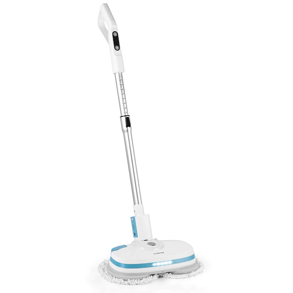 ALBOHES Cordless Spin Mop, Electronic Dual and Polisher Rechargeable Powered Floor Cleaner for All Surfaces - Rechargeable Spinning Mop-Polisher and Scrubber for Indoor Use - Reusable Pads