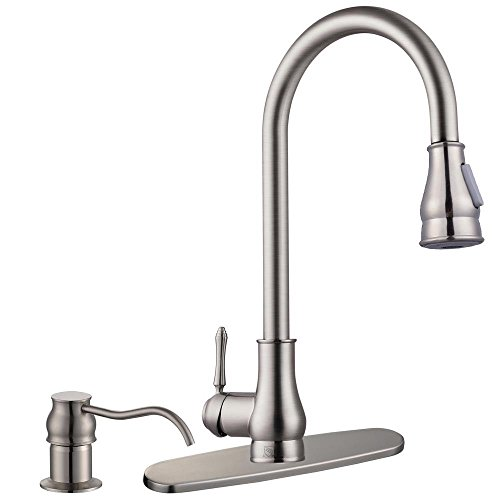 - Pull-Out Kitchen Sink Faucet Spray Swivel Pull Down Plumbing Soap Dispenser