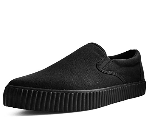 (T.U.K. Shoes A9487 Unisex-Adult Sneakers, Slip Resistant Work Shoes, Black Basic Twill Pointed EZC Slip-On - US: Mens 6 / Womens 8 / Black/Fabric)