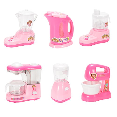 ThinkMax Toy Play Kitchen Appliances for Kids Pretend Play Game (Blender, Water Dispenser, Kettle, Juicer, Coffee Machine, Soy Milk Maker)