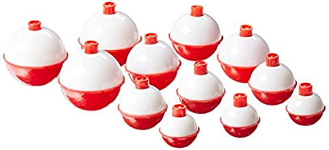Eagle Claw Snap-On Floats Assortment, 12 Piece (Red and White, 1-Inch/1-1/4-Inch/1-1/2-Inch/1-3/4-Inch)