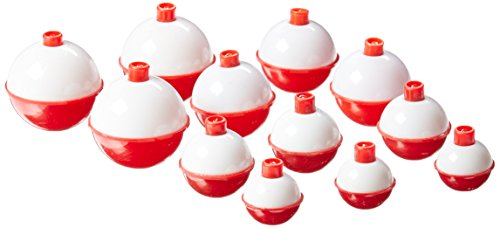 Eagle Claw 07030-001 Snap-On Round Floats, Red/White, Assorted Sizes (Per 12) ()