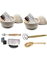 2 Pack of 7 Inch round Bread Banneton Proofing Basket French Style Artisan Sourdough Bread Bakery Basket Bakeware Set (Linen Liner Cloth + Bread Knife + Bread Lame + Dough Whisk+Basket Cleaning Brush)