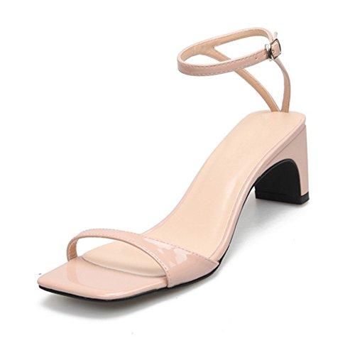 Mujer Sandalias Bajo Medio Tacón Bloquear Mirar furtivamente Dedo del pie Señoras Tobillo Correa Zapatos Fiesta Strappy Tamaño 3-11 apricot