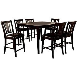 247SHOPATHOME IDF-3325PT 7PC Dining-Room, 7-Piece Set, Brown