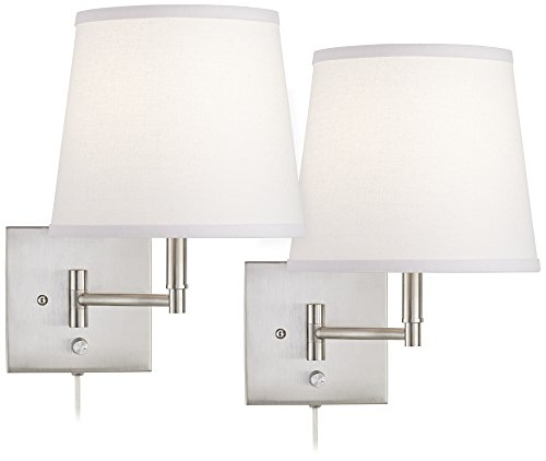 Lanett Brushed Nickel Swing Arm Plug-in Wall Lamp Set of 2