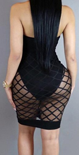Party Women Halter Bodycon Midi Clubwear Lace Up Jaycargogo Dress Black xqtdaY1wB