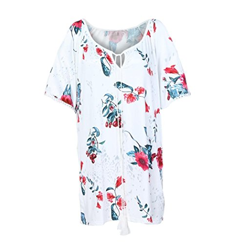 Sunhusing Women Print Crew Neck Strap Lace-up Off Shoulder Half Sleeve Top Large Size T-Shirt (Faux Sleeve Fur Boot)