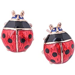 Acefeel 18K Gold Plated Adorable Red Enamel Lucky Ladybug Stud Earrings for Women's Gift E131