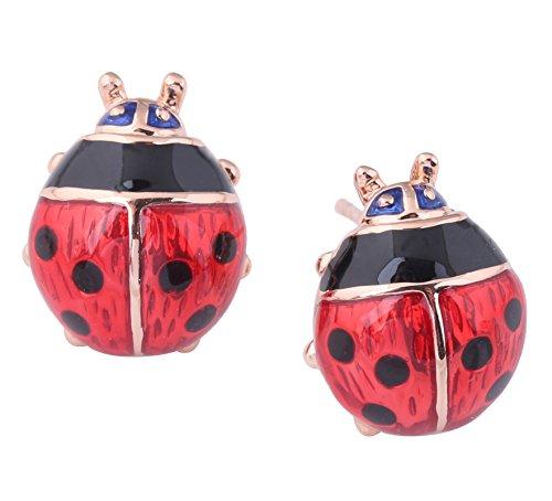 Acefeel 18K Gold Plated Adorable Red Enamel Lucky Ladybug Stud Earrings for Women's Gift E131