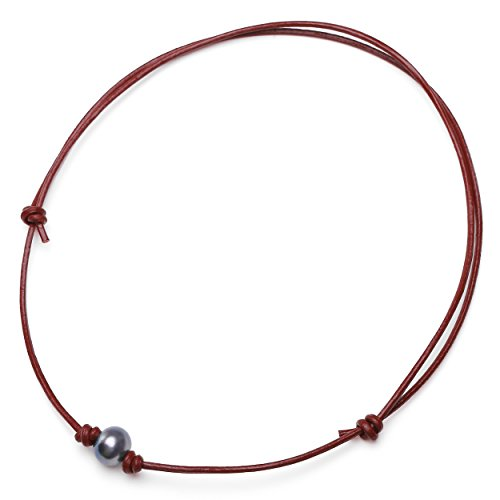 Aobei Cultured Freshwater One Dyed Black Pearl Choker Necklace on Genuine Leather Cord Adjustable Tan Adjustable Brown Leather Necklace
