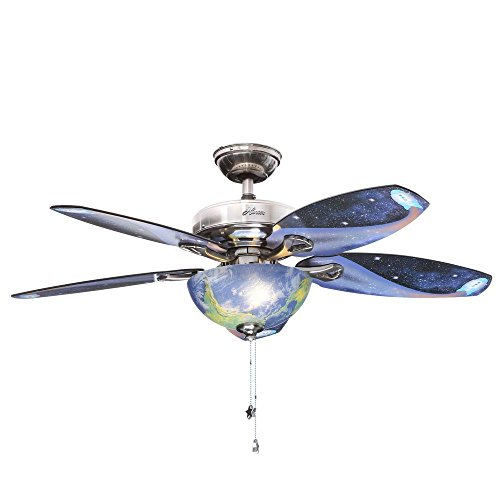 Hunter Space Discovery 48 in. Brushed Nickel Ceiling Fan with Earth Light & Moon Blades