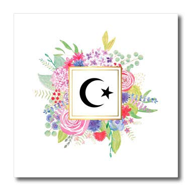 3dRose InspirationzStore World Religions - Floral Muslim Star and Crescent Symbol Watercolor Pink Flowers - Islam - 10x10 Iron on Heat Transfer for White Material (ht_316551_3)