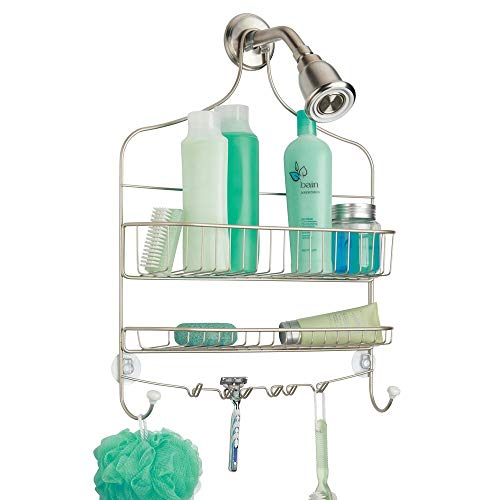 mDesign Extra Wide Metal Wire Bathroom Tub and Shower Caddy, Hanging Storage Organizer Center with Built-in Hooks and Baskets on 2 Levels, Rust Resistant - Satin - Jumbo Shower Caddy