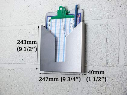 Stainless Stainless Wall Mountable Document Holder A4 Size by Detectamet Food Safe Detectable Products