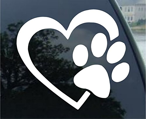 HEART and DOG PAW Puppy Love Decal Sticker (White, 4″)