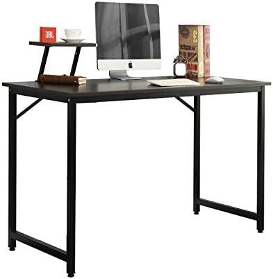 DlandHome Computertafel met displaystandaard 100 x 50 cm werkkamer bureauwerkplektafel zwart