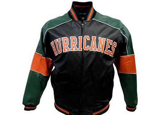 G-III Sports Miami Hurricanes Men's Large Full Zip Embroidered Leather Jacket AMIA 4 L