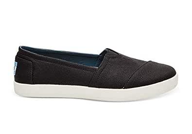 TOMS Womens 10006322 Black Coated Canvas Avalon Leather Women's Avalon Slips-on Black 10006231 Black Size: 5.5 US / 5.5 AU