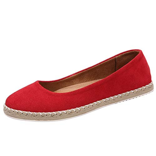 Toimothcn Women's Single Shoes Classic Round Toe Slip On Office Flats Boat Sandals (Red,US:6)