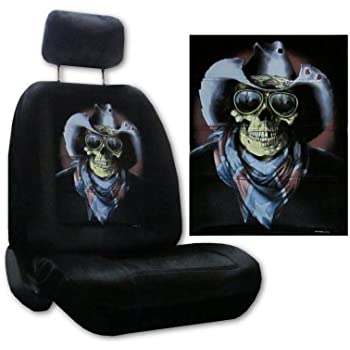 Amazon Com Seat Cover Connection Rebel Skull With Cowboy Hat Print 2 Low Back Bucket Car Truck
