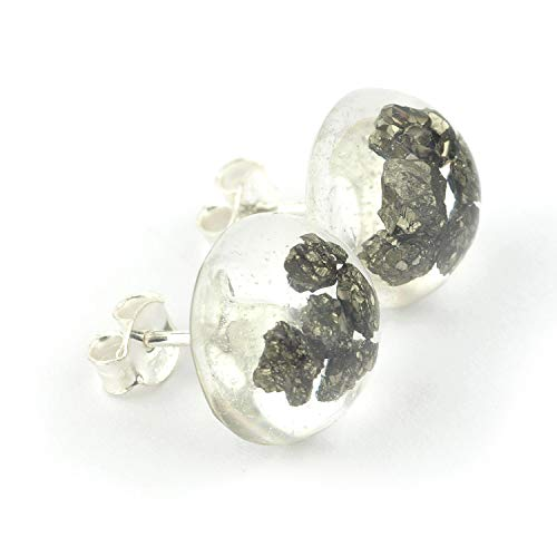 Pyrite stud earrings embedded in resin epoxy and sterling silver button shaped 0.47 inch diameter ()