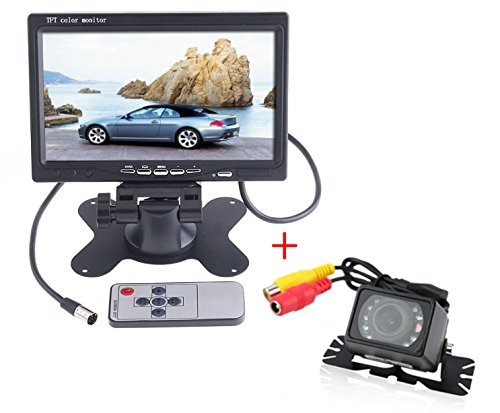 7 Inch LCD Monitor Padarsey 7 Inches TFT Color LCD Car Rear View Camera Monitor Support Rotating The Screen and 2 AV Inputs