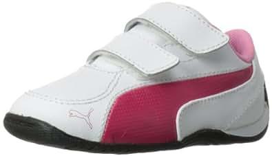 PUMA Drift Cat 5 V Leather Sneaker (Toddler/Little Kid),White Pink/Sachet Pink,7 M US Toddler