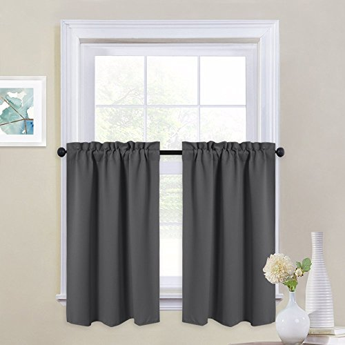 NICETOWN Half Window Blackout Valances - Window Treatment Rod Pocket Tailored Tier/Cafe Curtain Panels (1 Pair, 29 by 36 inches Each Panel, Grey)