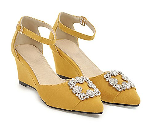 Strass Gelb Knöchelriemchen Sandale Zehen Keilabsatz Damen Aisun Blumen Geschlossen Spitze zICgR
