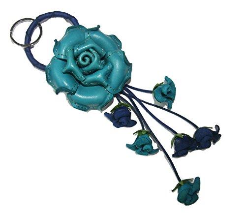 Bella Pazzo Blue color Handmade Rose Flower Leather Keychain Key Ring Clasp Bag Charm Handbag Purse charm Car Key Pendant
