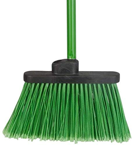 PRO-Source - 12 Inch Wide, Green Polypropylene Bristles, Vinyl-Coated Metal Handle, Angled Broom - Flagged, 48 Inch Handle Length (6 Pack)