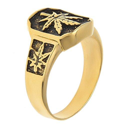 - JAJAFOOK Original Design Retro Mens Stainless Steel Gold Plated Weed Leaf Hip Hop Trend Ring (12)