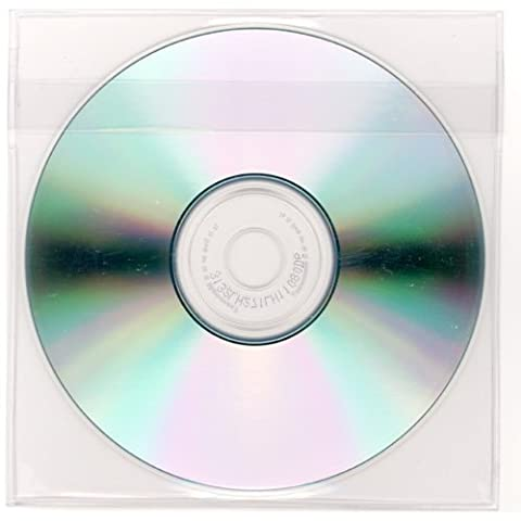 StoreSMART - Peel & Stick CD / DVD Pocket - Clear Plastic - Loose Fit with Flap - 5 1/8