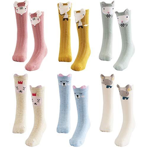 Bestjybt Baby Girl Boy Knee High Socks Infants Toddlers Kids Animal Socks Tube Stockings, 6 Pairs (Style 01, 1-3 -