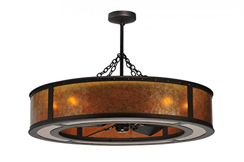 - Meyda Tiffany 108445 Smythe Craftsman Collection 44-Inch 8LT Chandel-Air, Oil Rubbed Bronze Finish with Amber Mica Shade