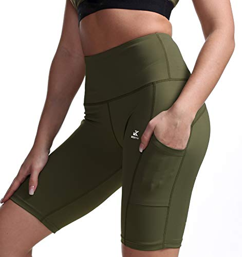 Kipro Stretch Active Shorts Running Cycling Workout Short Leggings for Women L Army -