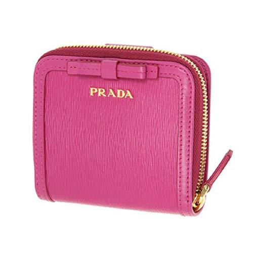 (Prada Portafoglio Lampo Fuxia Pink Vitello Move Zip Flap Bow Wallet 1ML522)