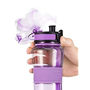 Swig Savvy Bottles 18 oz Triton Water Bottle Eco Friendly & BPA-Free Leak Free One-Click Flip Top open Ideal For Sports Yoga Camping Biking & Jogging (Purple)