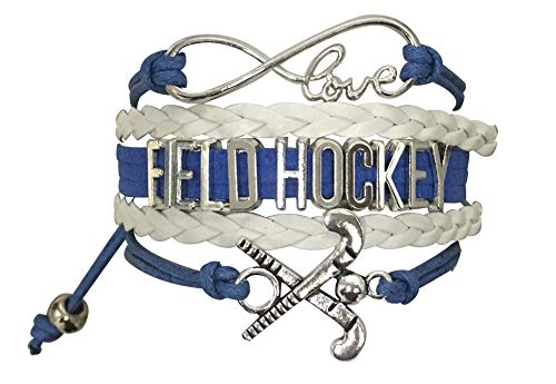 Sportybella Field Hockey Charm Bracelet, Field Hockey Jewelry Gifts, for Field Hockey Players, Teams & Coaches (Blue/White)