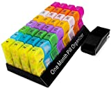 Monthly Pill Organizer | Pill Box | Pill Case | Pill Dispenser | Variant Color | Free Pill Cutter | 31 Days AM/PM | Easy Snap-On and Close Lid | BPA Free | Recyclable | Supplement or Medication