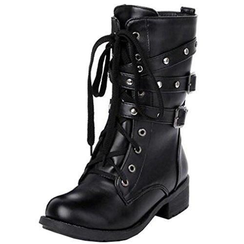Binying Women's Round-Toe Block Heel Lace-up Biker Boots 9ha7Hni