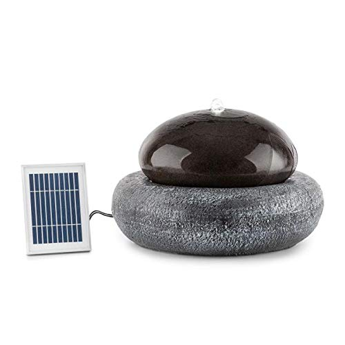 Blumfeldt Ocean Planet Solar Fountain • Water Feature • Ornamental Fountain • Garden Fountain • 200 l/h • Solar Panel • 2 Watts • Built-in Battery • LED • Extra-Long Connecting Cables • Polyresin