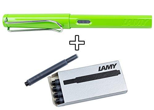 Fountain Pen Green - Lamy Safari Fountain Pen (M) Green & 5 Black Ink Cartridges