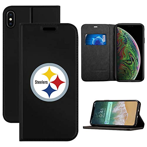 (Steelers iPhone Xs Wallet Case, iPhone X Patriots Wallet Case,Patriots Flip Folio Leather Cover Card Slot Holder with Kickstand and Magnetic Closure Compatible with iPhone X/XS 5.8 inch)