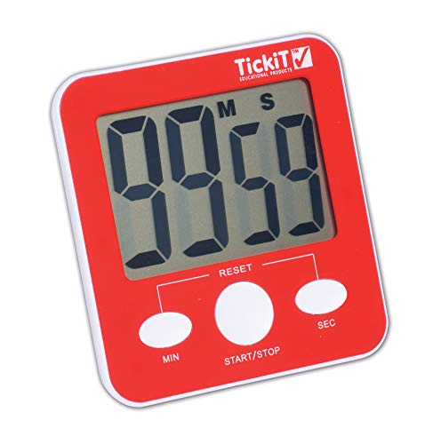 TickiT Jumbo Timer - Red - Digital Timer with Large Display for Kitchens, Classrooms, Games, Home Use - with Stand and Magnet for Mounting]()