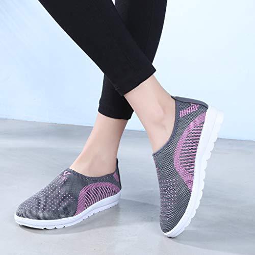 Tefamore Perezosos Running Gris Malla De Zapatos Púrpura Rojo Mujer Deportivos Ligero Zapatillas Gimnasia Para Algodón Sneakers q7qxwFU