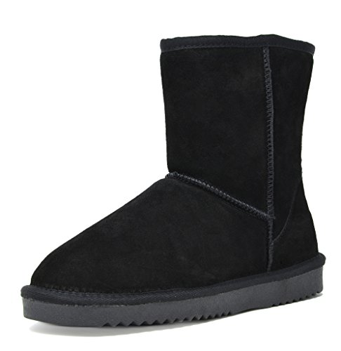 DREAM PAIRS Women's Shorty Black Sheepskin Fur Ankle High Winter Snow Boots - 7 M US