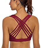YIANNA Sports Bras for Women - Medium Support Strappy Sports Bra Padded for Yoga, Running, Fitness - Athletic Gym Tops,YA-BRA147-Red-XL