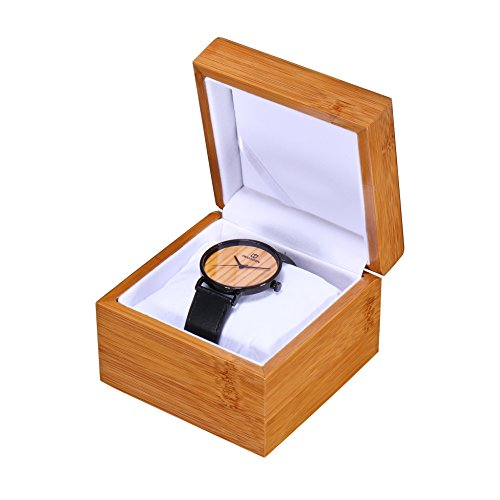 Watch Box for Men Single Watch Case Display Storage Case Holder Organizer Single Grid Gift Box with Pillow Mens Gift for Men(Without Logo)